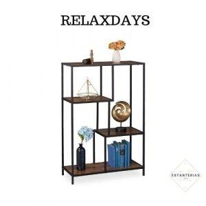 estantería de hierro y madera relaxdays