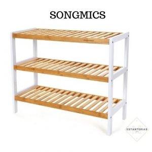 estantería de hierro y madera songmics